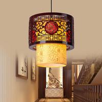 ingrosso imitazione antiquariato-Cinese ha condotto la camera da letto in legno cavo ristorante sala corridoio balcone antico lampadario lampadario lampada coperta di legno imitazione pelle di pecora