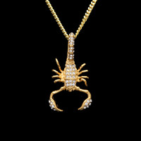 Wholesale gold scorpion pendant necklace resale online - iced out Stainless Steel Scorpion Pendant Gold Color Iced Out Rhinestone Animal Pendant Necklace Fashion Hip hop Jewelry