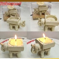 Wholesale Ivory Elephant Candle Holder - Wedding Favor Supplies Resin Candlestick Lucky Elephant Tea Light Candle Holder Antique-Ivory Candle Holder 200pcs wholesale