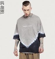 Wholesale Mens Tie Dyed T Shirts - INFLATION 2017 Summer New Style Mens Oversize Tie-dye T-Shirt Grey Black Men's Longshirt Longline Elong Casual HipHop Loose Tshirt