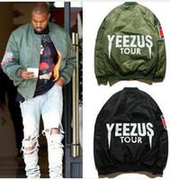 casacos jovens para homens venda por atacado-Jaqueta de Vôo Bomber MA1 jaquetas KANYE WEST limite edição mens jovens hip hop streetwear Casacos de inverno Quente