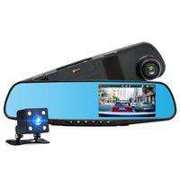 grabadora dvr de automóvil al por mayor-Coche DVR Lente dual Full HD 1080 P Grabador de video Espejo retrovisor con vista trasera Automóvil DVR Espejo Dash cam cam dvrs