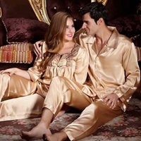 0420 Gorgeous Silk Blend Uomini Donne Donne Sleepwear Pigiama Set Sleep Camicie Maniche lunghe Pantaloni Coppie Amanti Nightclothes Nightie