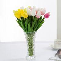 tulpensträuße großhandel-10 Pcs los High Range Handmade PU Tulip Künstliche Blume Für Heimtextilien Dekoration Braut Hochzeit Bouquet Blumen