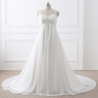 A-Line spring pictures free - Elegant In Stock Plus Size A line Chiffon Wedding Dresses Beaded Beach Bridal Wedding Gowns Bridal Wedding Gowns