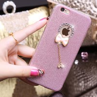Wholesale Crystal Bowknot Iphone - Luxury Bling Glitter Diamond Sparkle Crystal Rhinestone bowknot design soft tpu phone case Back Cover For iphone7 7plus 6 6splus iphone5S