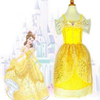 Wholesale Snow White Clothing Girls - Cindercella Belle Aurora Snow White Princess Dresses Children Girls Cosplay Costume Lace Party Dress Easter Halloween XMAS Clothing PX-A23
