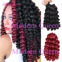 Wholesale janet braiding hair online - Freetress Ombre Wand Curl Janet Collection Synthetic Kanekalon Crochet Braids Noir X Bounce Twist Braid inch Hair Extensions Roots