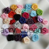ingrosso capelli rosati di raso-Cheap 100pcs 15mm solido colorato raso laminato nastro rosa rosette fiore tessuto applique decorazione floreale clip di capelli forniture