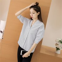 Wholesale New Korean Women Fashion Blouse - NEW Women Blouses Striped Long Sleeve Womens Tops Ladies Shirts New Spring Summer Elegant Blouse V-neck Korean Fashion