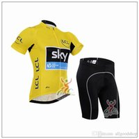 Wholesale Sky Cycling Sets - 2016 Sky Cycling Jersey Short Sleeve Jersey Bib Shorts Set Pro Team Sky Cycling Clothing Maillot Bike  Bicycle Wear For Breathable