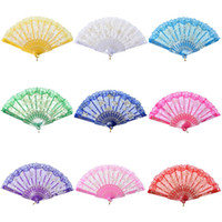 Wholesale Umbrella Flower Rose - Popular DHL 50pcs lot Spanish style rose flower design plastic frame lace silk hand fan, Chinese craft folding fan