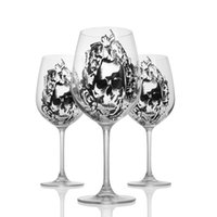 Wholesale Lead Crystal Goblet - High-Grade Lead-Free Crystal Goblet Wine Glass With Diamond Cup Goblet Wedding Wine Glass Skull Glass Mug For Christmas Festival Gift