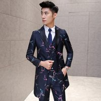 Wholesale Man Vest Korean - Wholesale- freeshipping Korean mens flower printed suits 2016 new fashion plum embroidery long wedding casual 3-piece suit jacket+vest+pant
