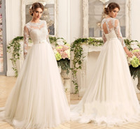Wholesale T Shirt Tulle - Modest Vintage Lace 2017 Wedding Dresses Jewel Neck With Long Sleeves Bow Ivory Tulle Wedding A Line Cheap Bridal Dresses