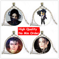 Wholesale Michael Necklace - 6 Style High Quality Fashion Super Star Michael Jackson Moonwalk Long Chain Unisex Pendant Necklace Silver Glass Dome Necklace NS047