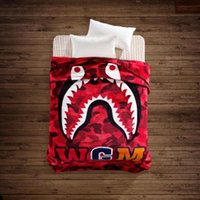 Wholesale Super Soft Bedding - ape man,bap Shark Printed Throw Blankets Manta Bathing aape Blanket super Soft Fleece Blankets on the bed Sofa Blanket 130*150cm