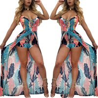 Wholesale Tailored Dresses Designs - New Open Front Dress Short Pants Rompers Womens Sexy Split Tailored Design Jumpsuit Beach Overalls Playsuit African Printing Jumpsuit Women