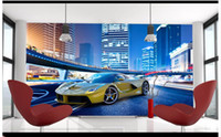 cool 3d wallpaper großhandel-Hohe Qualität Benutzerdefinierte 3d fototapete wandbilder tapeten Um die kühlen sportwagen wandbilder tv wallpaper dekoration wohnzimmer tapete zu genießen