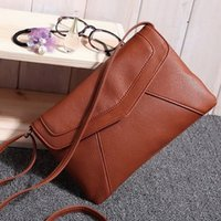 повседневная сумка для слинга для женщин оптовых-Wholesale- Casual Vintage Small Women Bags Leather Messenger Bag Retro Envelope Bag Handbag and Purse Sling Crossbody Shoulder Bag Thin