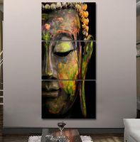 Wholesale More Canvas Paintings - 2017 HD printed 3 piece canvas wall art Buddha meditation painting buddha statue wall art canvas prints