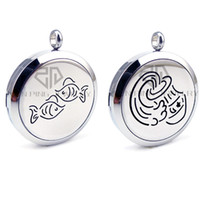 Wholesale pisces silver necklace for sale - Group buy Round Silver Pisces and Aquarius mm Essential Oils Locket Stainless Steel Necklace Lockets Stainless Steel Perfume Necklace