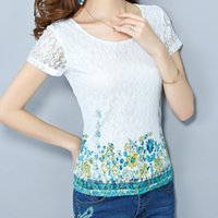 Wholesale Korea Chiffon Shirt Fashion Women - Wholesale-New 2015 women Summer t-shirts Chiffon t-shirt short-sleeve printed Korea Fashion Lace t-shirt plus size loose S-4XL