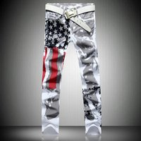 Wholesale american flag jeans for men - Fashion designer jeans for men robin jeans famous brand denim plus size with wings american flag jeans