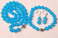 Wholesale Light Blue Jade Bracelet - 10mm Blue Topaz Round Beads Necklace Bracelet Earring Set