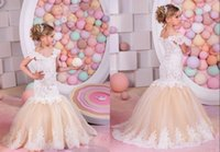 Wholesale Cute Beautiful Images - Lace Appliques Mermaid Tulle Flower Girl Dresses Wedding Dresses Cute Beautiful Birthday Dresses Custom Made Fashion