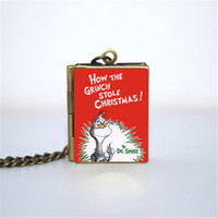 Wholesale book links - 12pcs How the Grinch Stole Christmas Book Locket Necklace, Bronze tone book jewelry