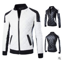 Wholesale Leather Jackets For Men 5xl - Korean New Design Men's Jacket Winter&Autumn PU Leather Black&White Fashion Slim Plaid Jacket For Man Leather Jacke Drop Shipping MY23