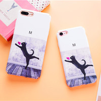 Wholesale Hard Case Cat Iphone - Lovely Cat Cartoon Case For iPhone 7 7Plus 6 6s 6Plus 6sPlus Hard PC Phone Case Cute Cartoon Floral Back Cover