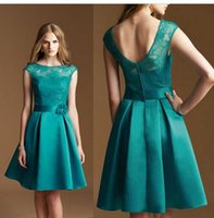 Wholesale Turquoise S Dress - New Turquoise Short Bridesmaid Dress 2017 A Line Handmade Flower Sash Lace Satin Cap Sleeve Knee Length Lovely Formal Prom Homecoming Gowns