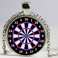 Wholesale American Fine Arts - Dart Board Target Pendant Necklace Jewelry Fine Art Necklace Photo Jewelry Glass Pendant Gift