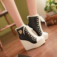 Wholesale High Heel Platform Sneakers - Fashion Women Buckle Lace Up Wedge Women'S High Heels Platform Boots Sneakers Shoes