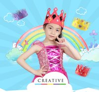 Wholesale Eva Diy Crown - 200PCS EVA Foam Birthday Crown for Children Birthday Party Caps Self-adhesive DIY Handmade 3D Eva Crown Hat Craft Kits
