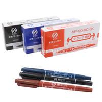 Wholesale Free Tattoo Stencils - Wholesale- New 30pcs Tattoo Skin Marker Stencil Pen Assorted Tattoo Marking Pen Dual Tip Marker Piercing - Black Blue Red Free shipping