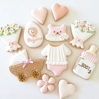 Wholesale Egg Biscuit - 7pcs Baby Party patisserie reposteria Stroll Flower Egg Heart Moldes Metal Cookie Cutters Fondant Cake Decorating Tools Biscuit Pastry Mould