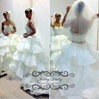dreamlike wedding dress prices - Dreamlike Tiered Cascading Ruffles Skirt Wedding Dresses 2017 Puffy Ball Gown Shiny Beads Sweetheart White Bridal Gown Vestidos De Novia