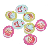 Wholesale Wooden Cupcake - Kimter Oval Cupcake Pattern Wooden Buttons With 2 Holes 3.05x2.6cm Mixed For Crafts Scrapbooking DIY Sewing Accessorie Pack Of 30pcs I479L