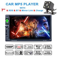 Wholesale Hd Radio Rds - DHL 7 Inch 2 DIN HD Touch Screen Car Video Stereo Player Bluetooth AM FM RDS Radio Support Mirror Link Aux In + Rear View Camera CMO_22G