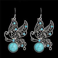 Wholesale Tibetan Stone Jewelry - 1pair Jewelry Ethnic Vintage Tibetan Silver Stone Royal Butterfly Dangle Earrings