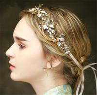 Wholesale Vintage Headdresses - Vintage Wedding Bridal Crystal Headband Ribbon Rhinestone Crown Tiara Hair Band Jewelry Gold Leaf Pearl Hair Accessories Headdress Piece