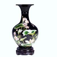 Wholesale Glazed Ceramic Vase - Unique Vase Jingdezhen Ceramic Vase Mirror Black Glaze With Lotus Pattern Famille-Rose Porcelain Vase Gift or Decoration for Home or Room