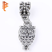 Wholesale Tibetan Silver Bird Beads - BELAWANG 3D Bird Owl Charms Pendants Fashion Tibetan Silver Fit Bracelets Necklace Earrings Jewelry DIY Making Free Shipping Loose Bead