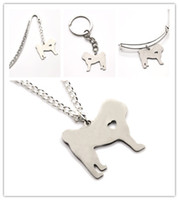 Wholesale pug pendants for sale - Group buy Pug dog NECKLACE charm heart cute dog pet i love dogs charm pendant necklace bangle keyring bookmark