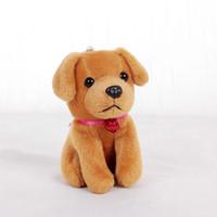 Wholesale Dog Ring Toy - Fashion Cute Plush Doll Labrador Dog Toy Key Chain Ring Woman Bag Charms Faux Rabbit Fur PomPom Car Keychain Party Trinket Gift