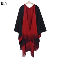 Wholesale Warm Ponchos For Women - Wholesale- Hot Stylish Fashion Solid Winter Warm Women's Cashmere Knitted Poncho Capes Shawl Cardigans Sweater Coat For Women 5 Colors No21