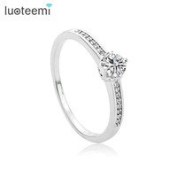 Wholesale Wedding Accessories Best Quality - Luxury Sparking CZ Crystal Charm Ring For Women Finger Jewelry Wedding Party Accessories White-Gold Color Best Quality LUOTEEMI